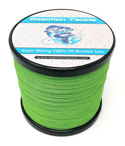 Reaction Tackle High Performance Braided Fishing Line Braid Hi Vis Green