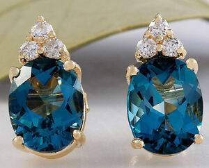 4.80ct Natural London Blue Topaz and Diamond 14K Yellow Gold Earrings