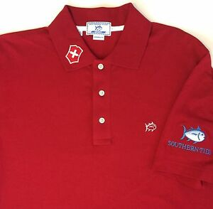Southern Tide Sport Men's Solid Red Supima Cotton Blend Polo Shirt Size Large