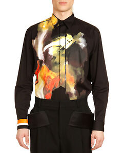 -68%OFF GIVENCHY Black Abstract Basketball Shirt: size 40 Columbian Fit Loose