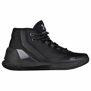 UNDER ARMOUR Curry 3 Boy's Basketball Shoes Triple Black - Youth Size 6
