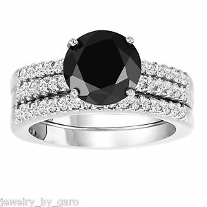 ENHANCED BLACK DIAMOND ENGAGEMENT RING AND TWO WEDDING BAND SETS 14K WHITE GOLD