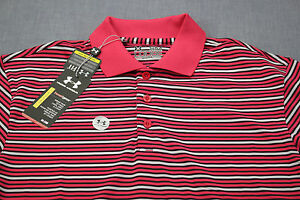 UNDER ARMOUR Loose Heat Gear Mens Pink Black White Striped Polo Golf Shirt NWT S