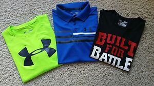 Lot of 3 Boy's Under Armour Golf Athletic Training  Shirts SZ L