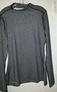 UNDER ARMOUR WOMENS COLD GEAR MOCK NECK LOOSE FIT TOP XL BLACK STARS NEW