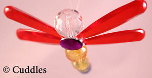 Crystal Expressions Beaded Hanging Dragonfly Red Good Luck Ganz Suncatcher NEW