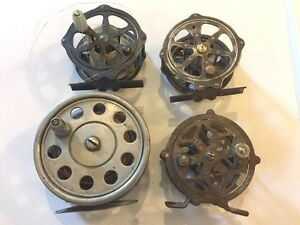 Lot of 4 Early old some skeleton fly rod fishing reels all unmarked