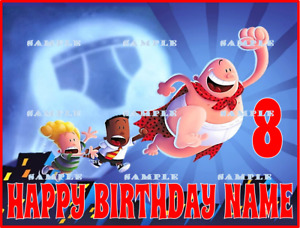 CAPTAIN UNDERPANTS: Personalized edible cake toppers FREE SHIPPING in CANADA