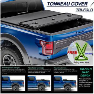 Fits 2014-2019 CHEVY SILVERADO Lock Hard Solid Tri-Fold Tonneau Cover 5.8ft Bed