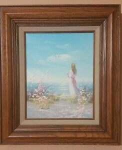Vintage Canvas Oil Painting Lady Seascape signed by Laura Keswick $79.99