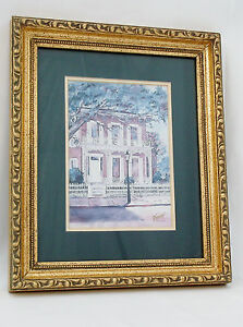 Victorian Home Watercolor B. Sumrall Lithograph Signed Matted Framed 11 X 9quot; $39.98