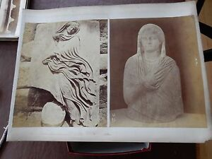 authentic LARGE 1870s SEPIA PHOTOGRAPH MOUNTED ATHENS MARBLE SCULPTURES GBP 50.00
