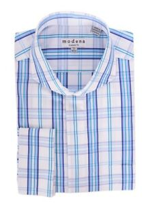 White With Turquoise Blue Plaid Cutaway Collar French Cuff Cotton Dress Shirt