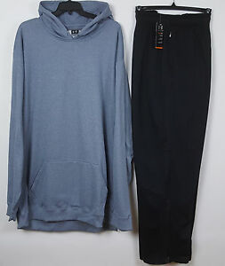 UNDER ARMOUR SWEAT SUIT HOODIE + PANTS BLUE GREY BLACK RARE NEW =SIZE 4XLT  4XL