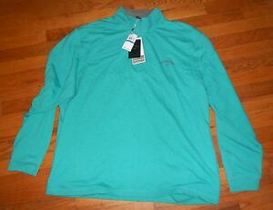 Nwt Mens Callaway Golf Teal Green LS Half Zipper Shirt XL $85