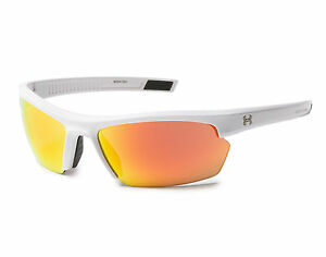 New $100 Under Armour UA Stride XL Sport Sunglasses White Orange Multiflection