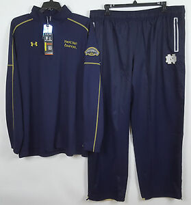 UNDER ARMOUR NOTRE DAME FIGHTING IRISH SUIT JACKET + PANTS BLUE NEW (SIZE 3XL)