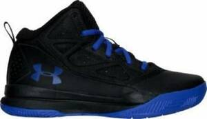 Boys UNDER ARMOUR JET black and blue Athletic Basketball Casual Shoes NEW 1.5
