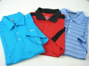Lot of 3 Mens NIKE GOLF TW Polo Shirt Dry Fit Assorted Colors sz L