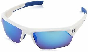 Under Armour Igniter II Shiny White Frame w Blue Mirror Lens Sunglasses