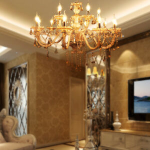 Large Crystal Chandelier Modern 15 Candles Ceiling Light Pendant Fixture Light