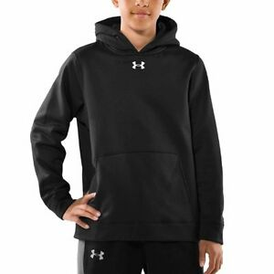 Under Armour Boys Armour Fleece Storm Team Hoodie Youth Medium Black New