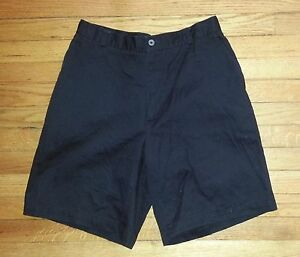 2834p Solid Black M 33 31x9 NIKE GOLF Casual Flat Front Khaki Shorts!