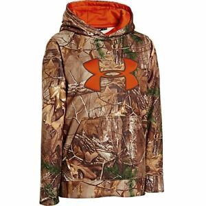 Under Armour Boys' Camo Big Logo Hoody Realtree AP-Xtra Dynamite Large New