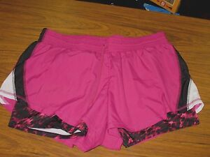 CHAMPION Duo Dry Athletic Running Shorts Women's Size XL Red Violet Black White