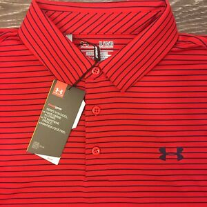 Under Armour Men's Golf Polo Heat Gear Shirt Size XL RedNavy Pinstripe Loose