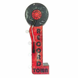 Record Town Double Sided Metal Sign W/ LED Lights, Decor For Home, Bar, Man Cave