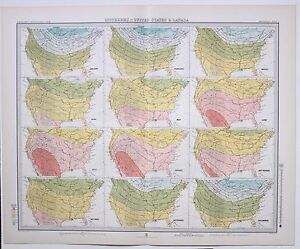 1899 LARGE WEATHER METEOROLOGY MAP ISOTHERMS UNITED STATES amp; CANADA TEMPERATURE GBP 88.00