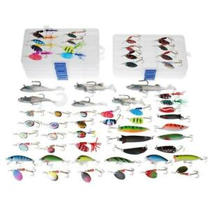 Dr.Fish 60 Fishing Lure Spinners Baits Assortment Loaded in 5 Tackle Boxes...