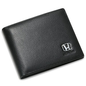 Honda Bifold Wallet Black Genuine Leather with 6 Credit Card ID Holder Men Gift