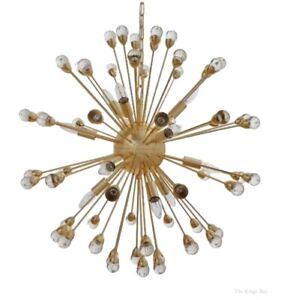 Round Sputnik 12 Arm Gold and Acrylic Chandelier Light Fixture High Designer