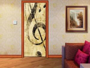 Key Treble Clef DOOR WRAP Removable Decal Wall Sticker Mural Music Notes D153
