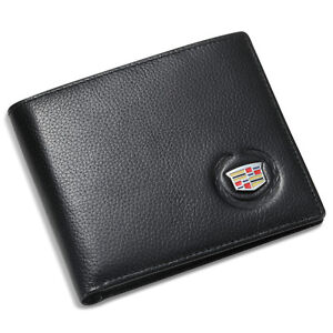 Cadillac Bifold Wallet Black Genuine Leather with 6 Credit Card ID Holder Men
