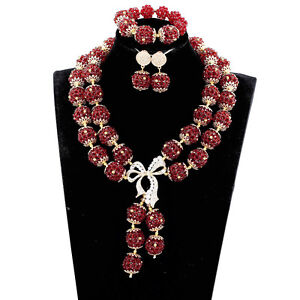 Red Gold Plated Crystal Rhinestone Bridal Jewelry Set Choker Collar Necklace Set