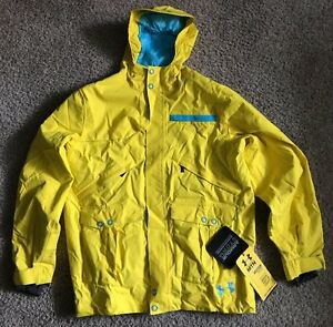 Under Armour Cold Gear Utility Shell Jacket Loose Fit Waterproof XL Yellow Blue