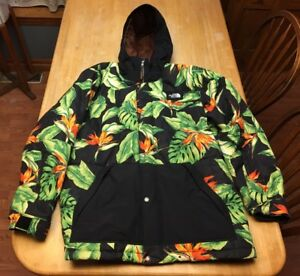 RARE Mens The North Face Trotwood Black Tropical Hawaiian Insulated Jacket XL