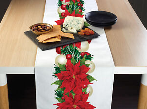 Christmas Poinsettia Border Table Runners 12quot; x 72quot; or 14quot; x 108quot;