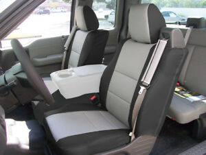 FORD F-150 04-08 S.LEATHER FRONT CUSTOM SEAT COVER BUILT IN SEATBELT BLACK/GREY