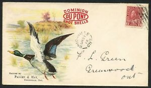 CANADA #106 ON DOMINION DUPONT SHOT SHELL GUN & POWDER ADVERTISING COVER BT9765