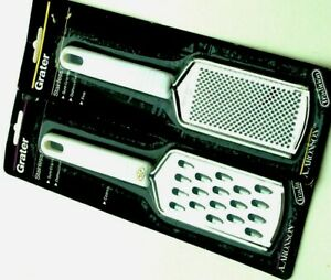 Set Of 2 Aronson Hand Grater Fine Coarse Stainless Steel Nylon Handle $7.99