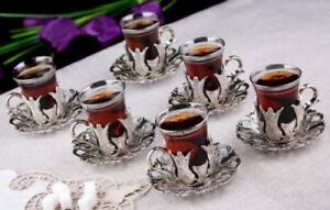 SET OF 6 Traditional Turkish Tea Glasses Holders Serving Cups Saucers Set