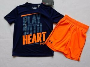 Boys Heat Gear Loose Under Armour Navy Blue Orange Shirt Shorts Outfit Lot YXS 4