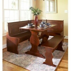 3 pc Walnut Wooden Breakfast Nook Dining Set Corner Booth Bench Kitchen Table