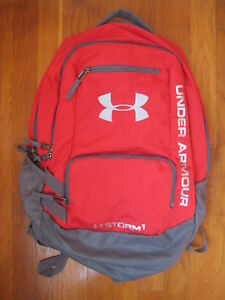 Under Armour Storm 1 red BACKPACK boy kid gray gym bag scrimmage team hustle one