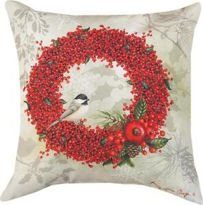 WINTERBERRY Christmas CLIMAWEAVE Indoor Outdoor Pillow 18quot; x 18quot; by Manual $27.97