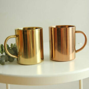 Brass Plate Stainless Double Wall Mug Cup For Moscow Mule Wine & Tumbler Coffee